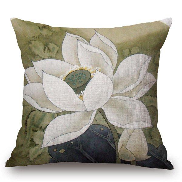 Chinese Style White Lotus Painting Pattern Square Shape Pillowcase - COLORMIX