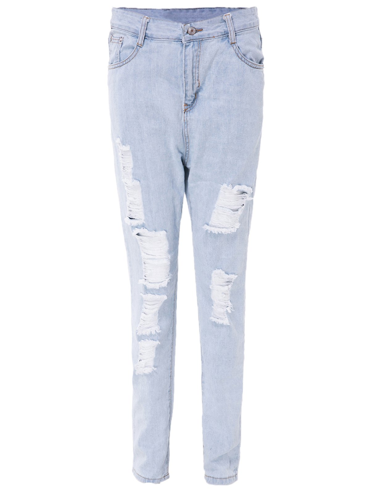 Stylish High-Waisted Ripped Slimming Frayed Women's Ninth Jeans - LIGHT BLUE M