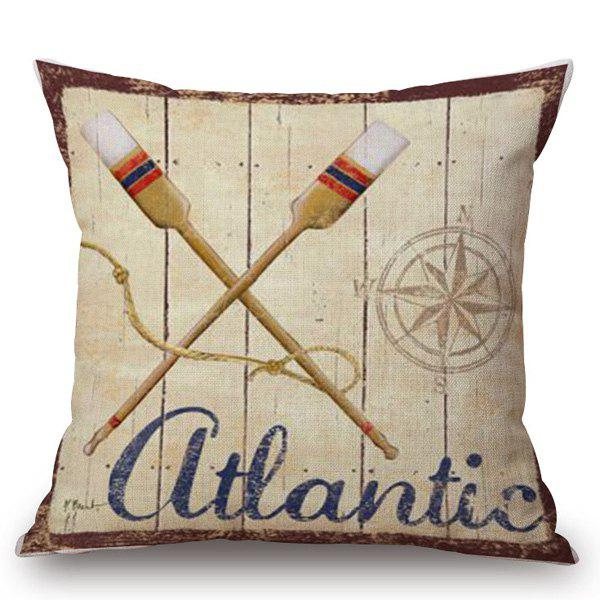 Ocean Style Paddles Pattern Square Shape Pillowcase - COLORMIX