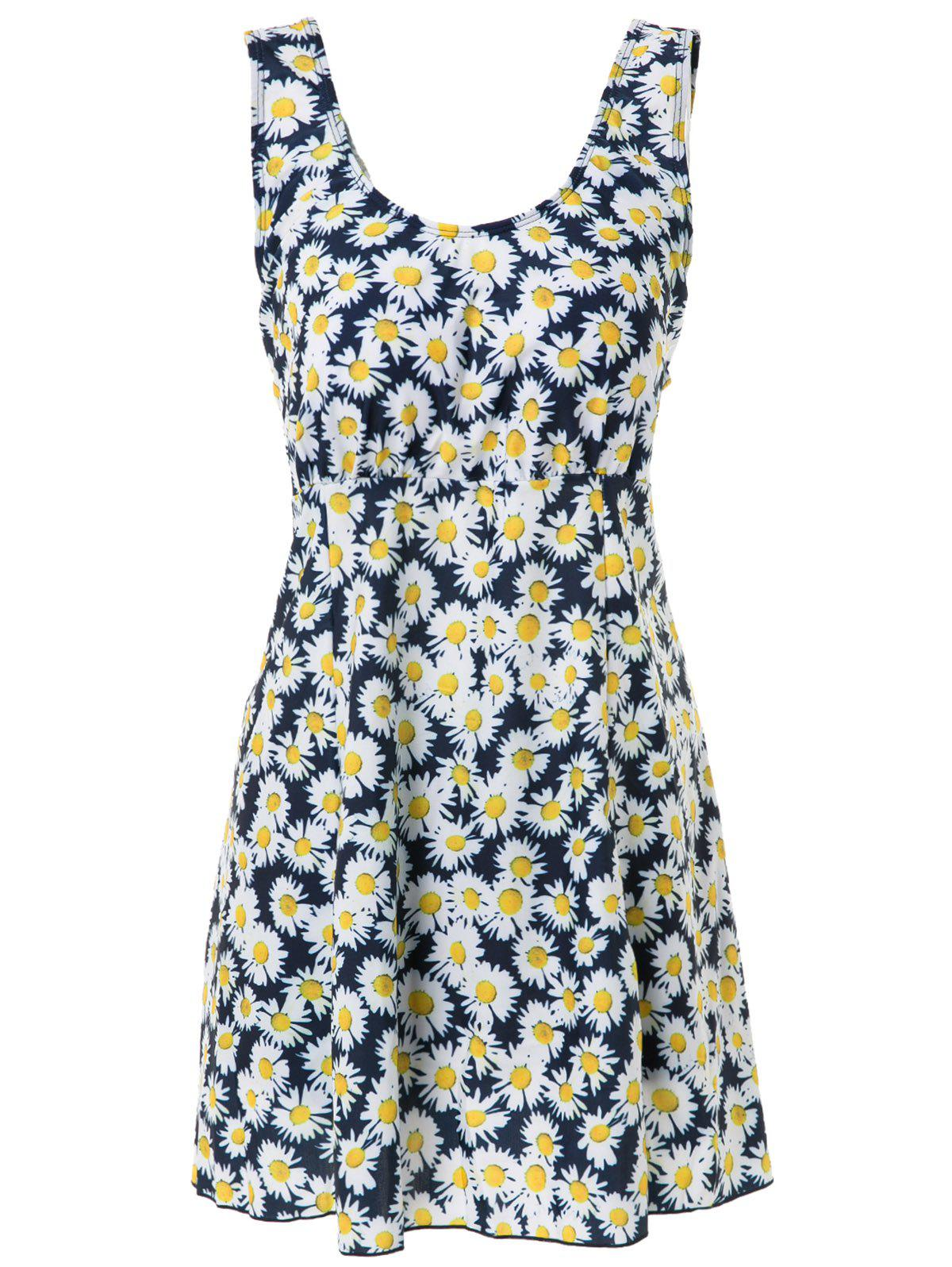 Casual Scoop Neck Plus Size Floral Print Two-Piece Women's Swimsuit - YELLOW 6XL