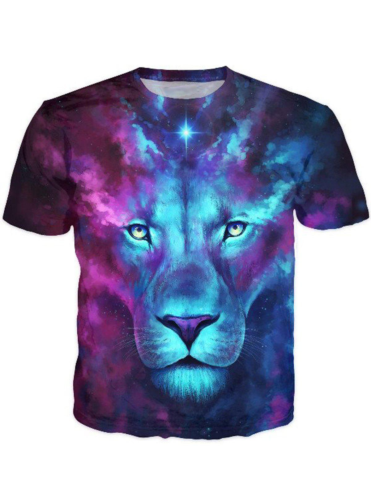 3D Color Block Lion Print Round Neck Short Sleeve Stylish Men's T-Shirt - COLORMIX 2XL