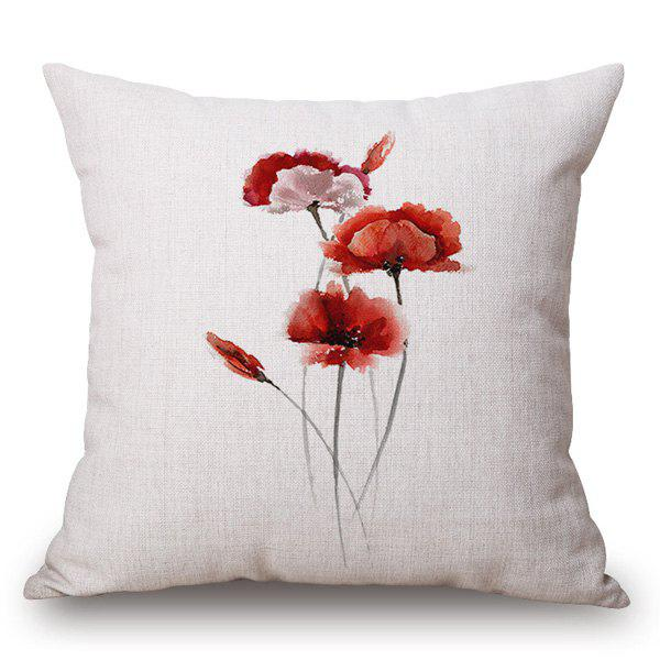 Creative Flower Ink Painting Pattern Square Shape Pillowcase - JACINTH