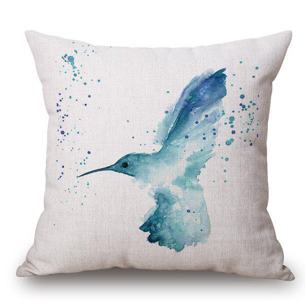 Creative Blue Bird Ink Painting Pattern Square Shape Pillowcase - LIGHT BLUE