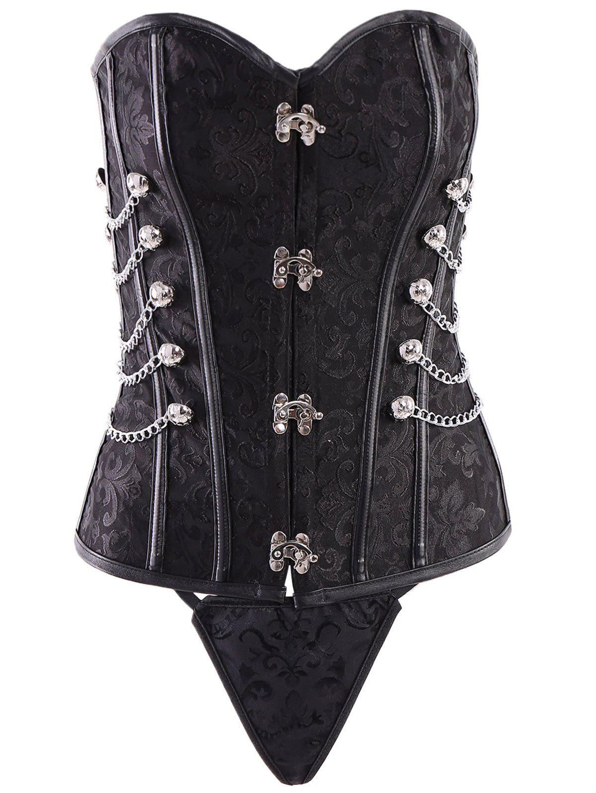 Vintage Steampunk Alloy Chain Lace-Up Corset For Women - BLACK S