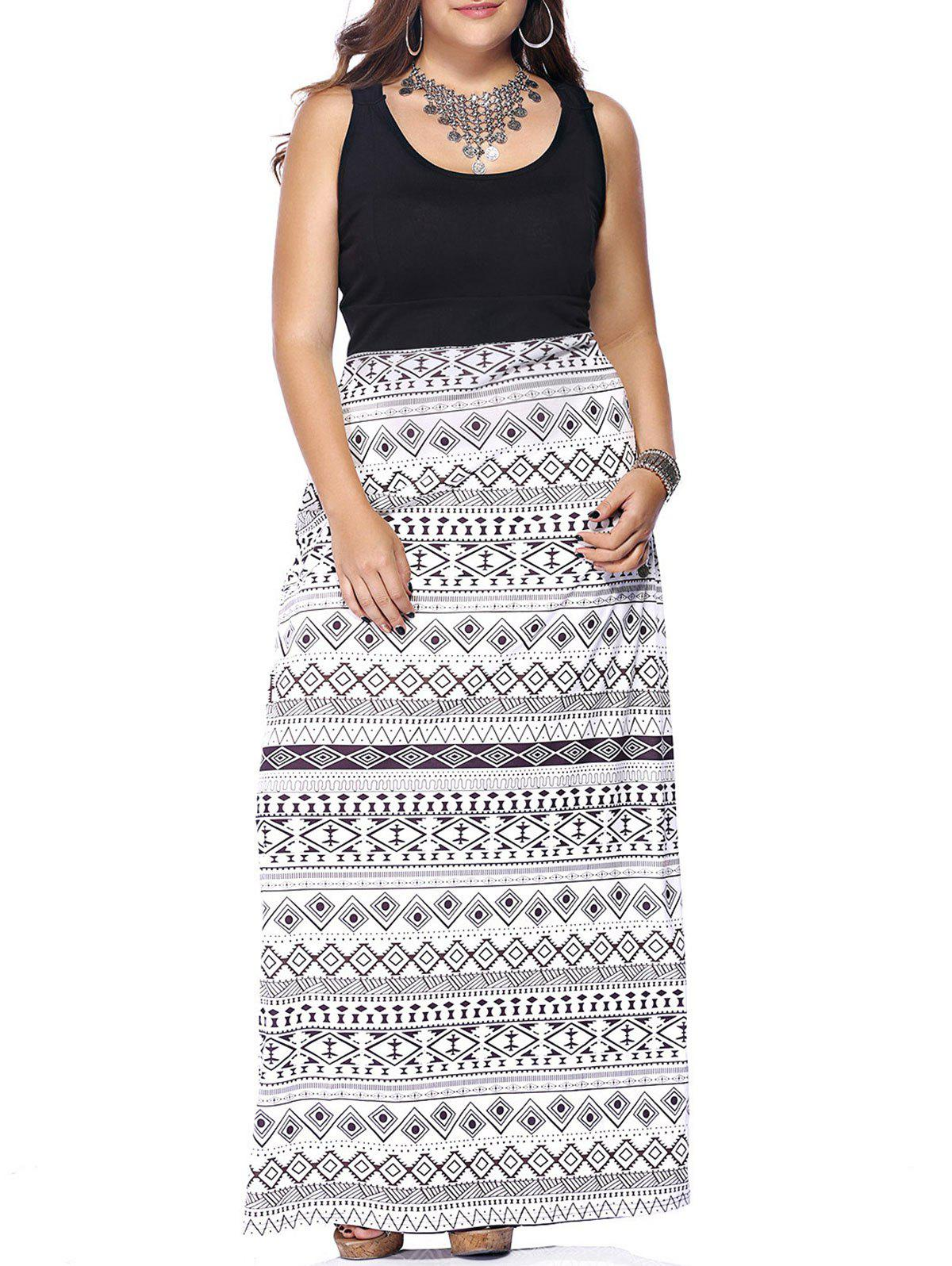 Fashionable Scoop Neck Sleeveless Hollow Out Plus Size Print Dress For Women