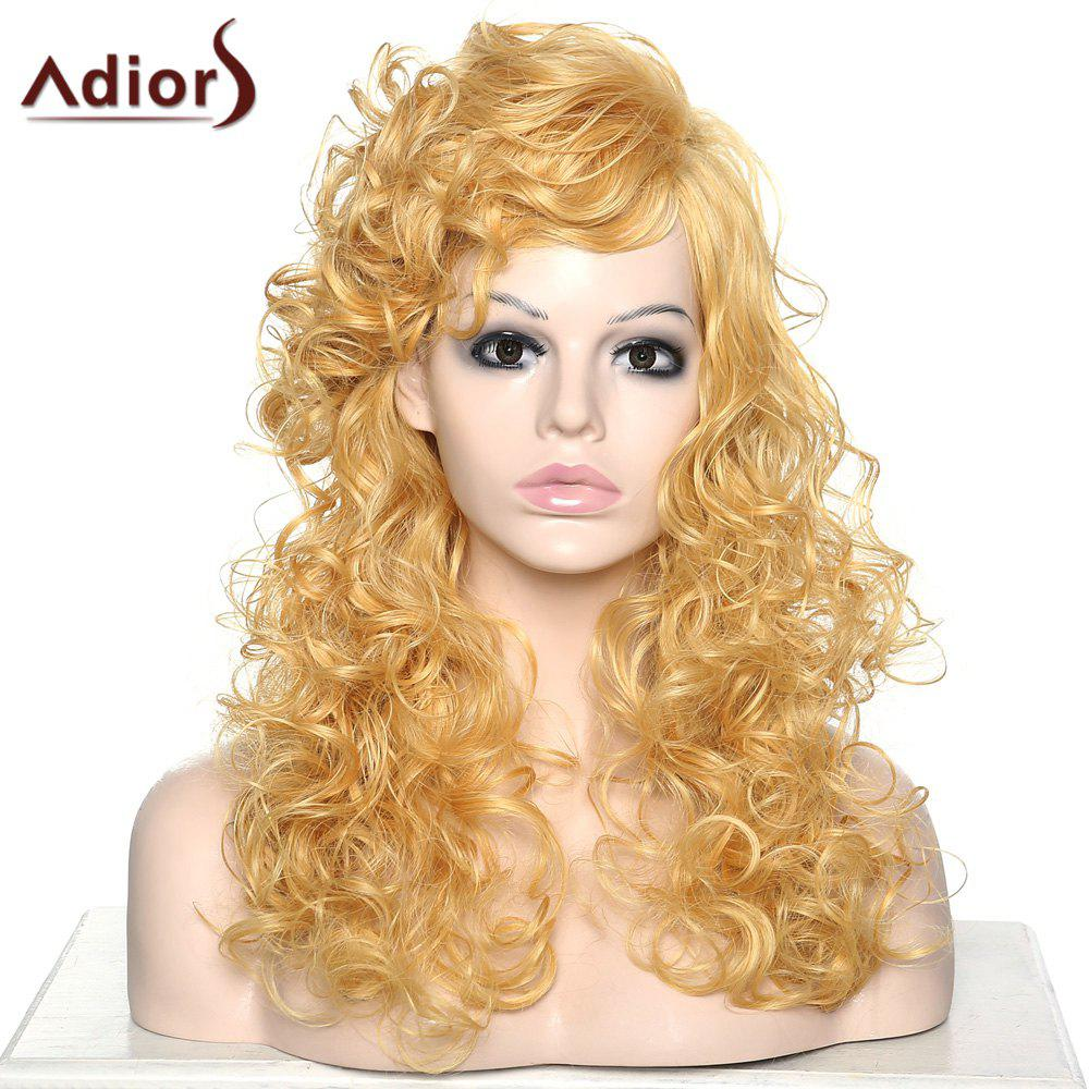 Women's Stylish Adiors Curly Long Side Bang Synthetic Wig
