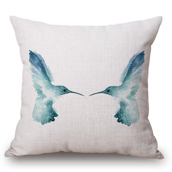 Classical Style Blue Bird Ink Painting Pattern Square Shape Pillow Case - LIGHT BLUE