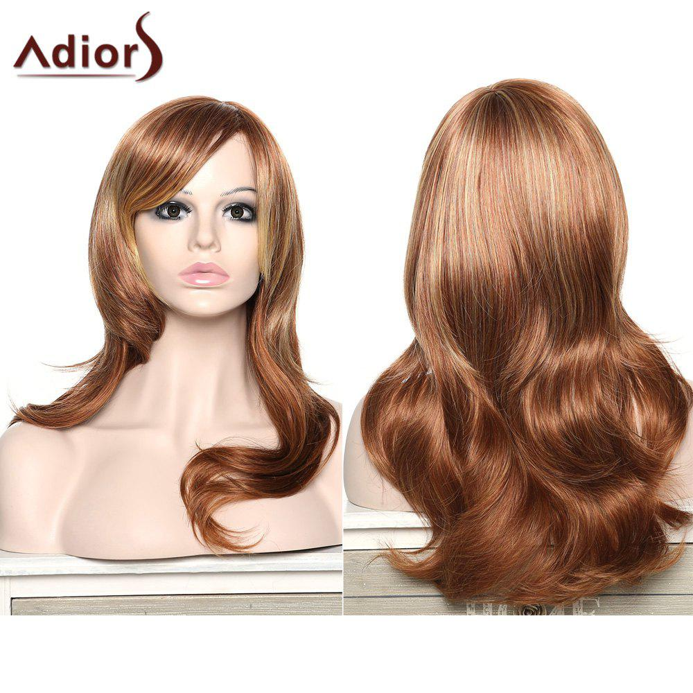 Women's Stylish Adiors Curly Long Inclined Bang Synthetic Wig - COLORMIX