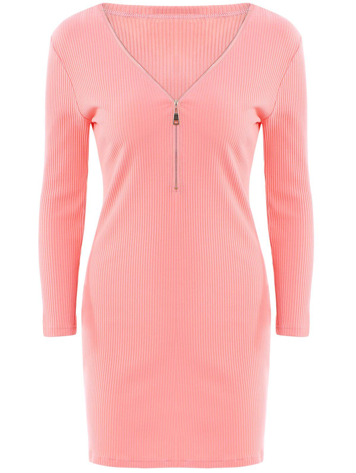 Alluring Women's V-Neck Candy Color Long Sleeve Dress - WATER RED S