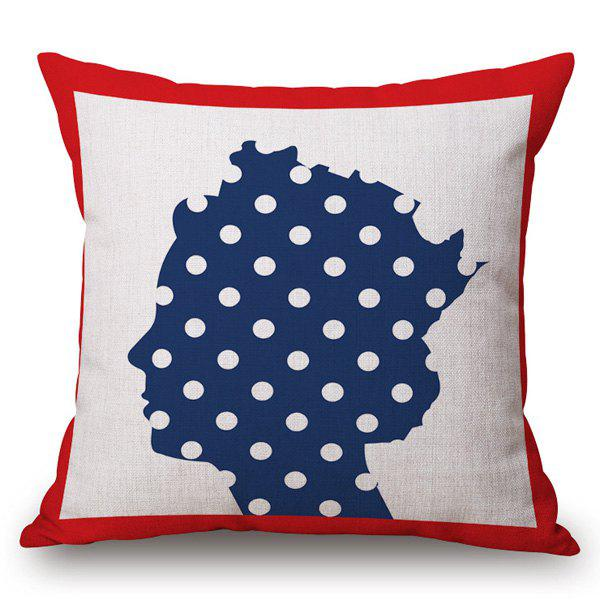 Retro Style Polka Dot Queen Pattern Square Shape Pillowcase - RED/WHITE/BLUE