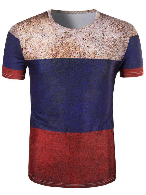 Men's 3D Retro Color Block Round Neck Short Sleeve T-Shirt - COLORMIX 2XL