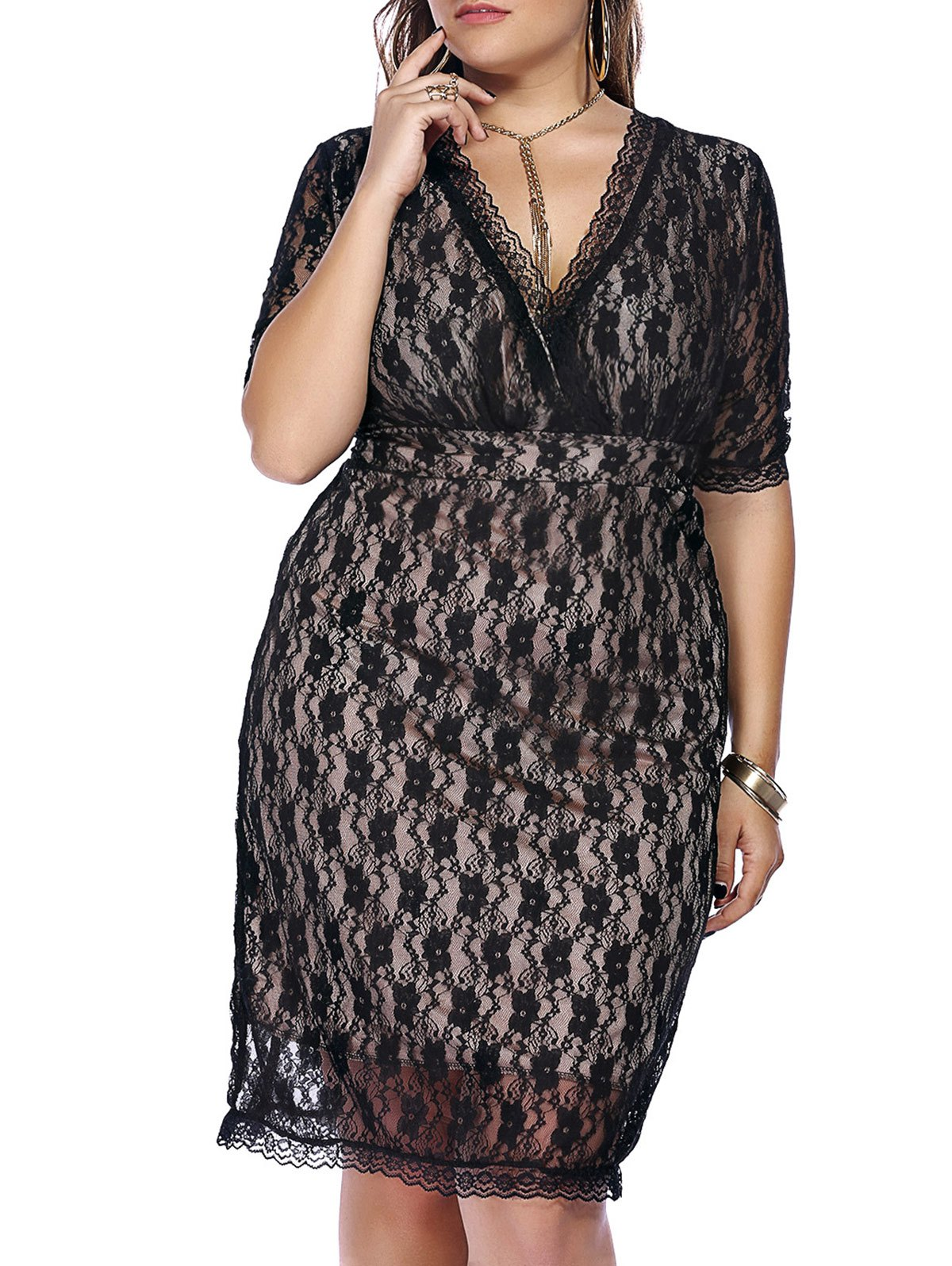 Graceful Women's Plus Size Plunging Neck Half Sleeve Lace Dress - BLACK 3XL