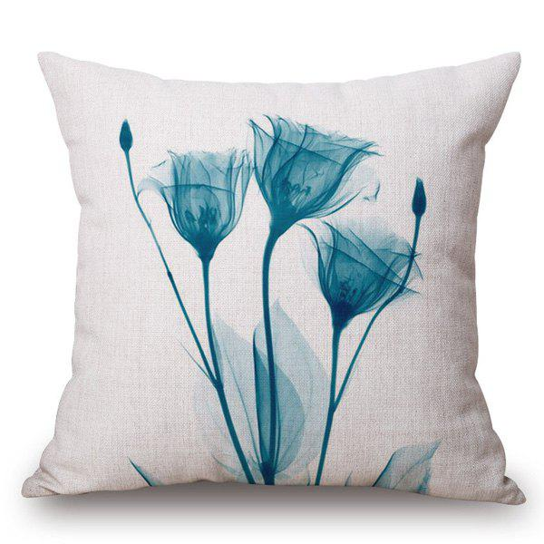 Chic Flower Ink Painting Pattern Square Shape Pillowcase - WATER BLUE