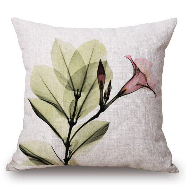 Chic Trumpet Flower Ink Painting Pattern Square Shape Pillowcase - COLORMIX