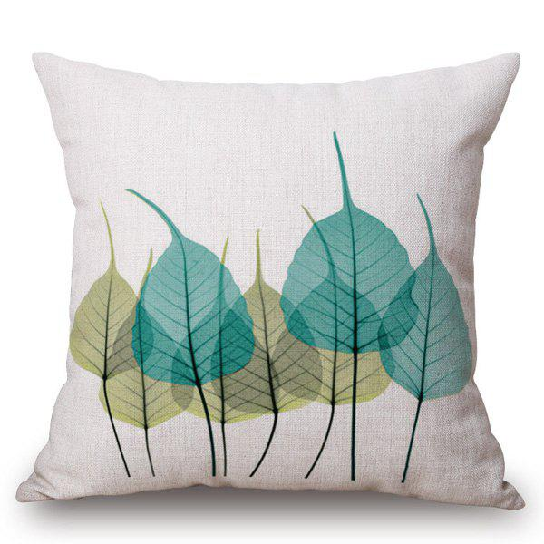 Chic Leaves Ink Painting Pattern Square Shape Pillowcase - BLUE/GREEN