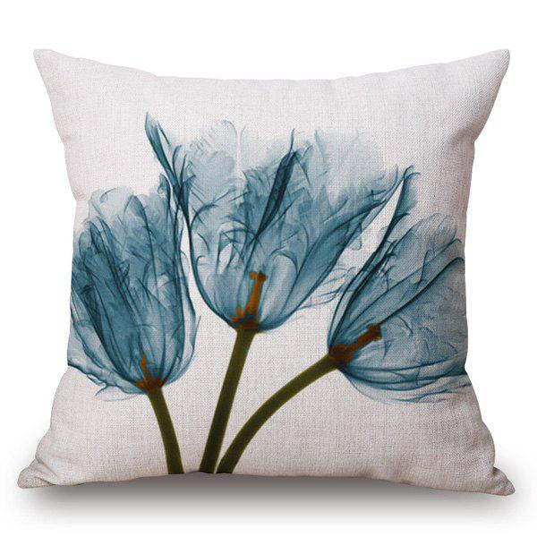 Simple Style Feather Flower Ink Painting Pattern Square Shape Pillowcase - ICE BLUE