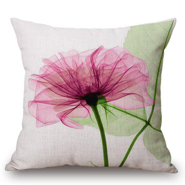 Simple Style Pink Flower Ink Painting Pattern Square Shape Pillowcase