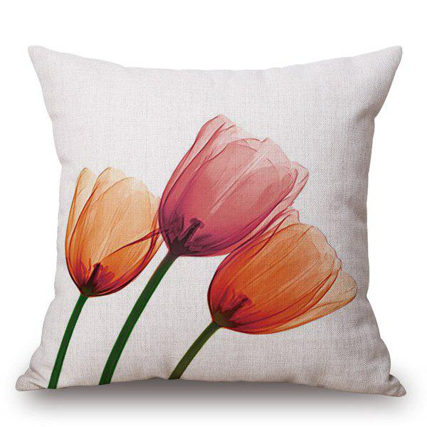 Modern Style Tulip Ink Painting Pattern Square Shape Pillowcase - ORANGEPINK