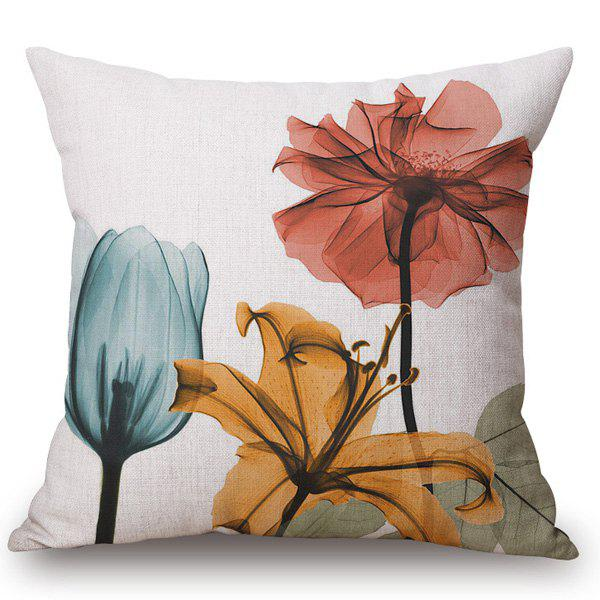 Modern Style Colored Flower Ink Painting Pattern Square Shape Pillowcase - COLORFUL