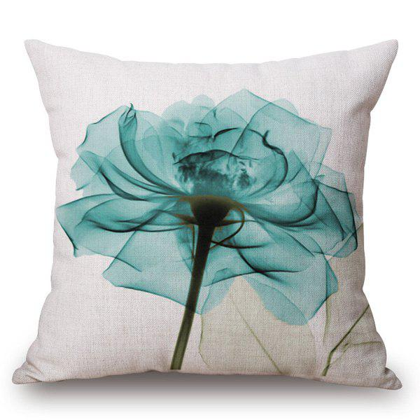 Modern Style Flower Ink Painting Pattern Square Shape Pillow Case - TURQUOISE