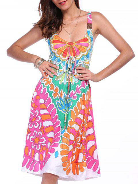 Ethnic Style Plunging Neck Sleeveless Printed Colorful Women's Dress - COLORMIX M