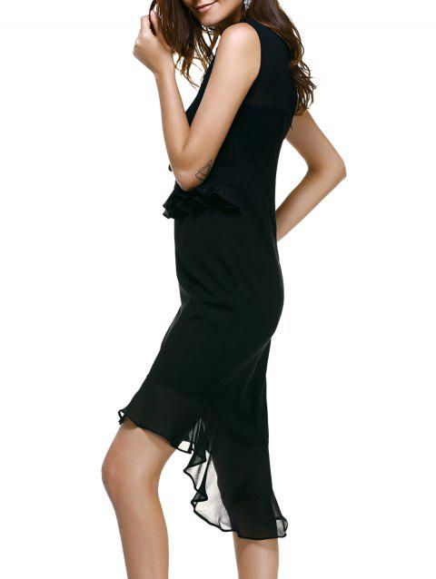 Novelty Sleeveless Knitted Splicing Asymmetrical Women's Dress - BLACK ONE SIZE(FIT SIZE L TO 3XL)