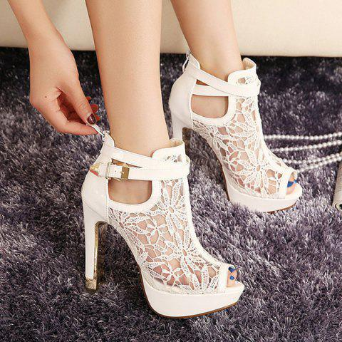 Trendy Platform and Lace Design Women's Peep Toe Shoes - WHITE 38