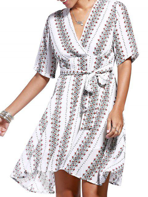 Trendy V Neck Tiny Floral Print Asymmetric Dress For Women - WHITE ONE SIZE(FIT SIZE XS TO M)
