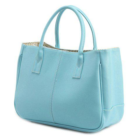 Simple Candy Color and PU Leather Design Women's Tote Bag - LIGHT BLUE
