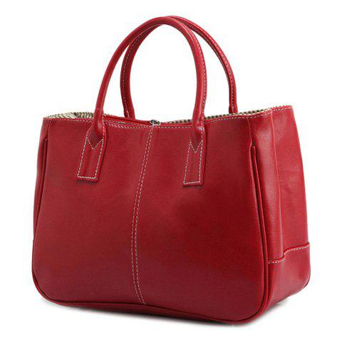 Simple Candy Color and PU Leather Design Women's Tote Bag - RED