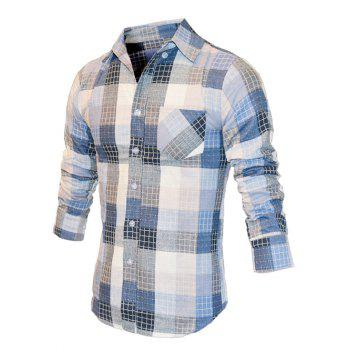 Checked Color Block Turn-Down Collar Long Sleeve Men's Shirt - BLUE L
