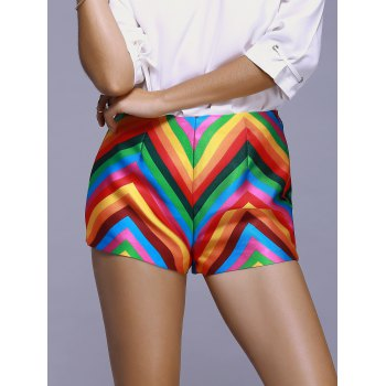 Fashionable Slimming Color Stripe Printing A Font Shorts For Women