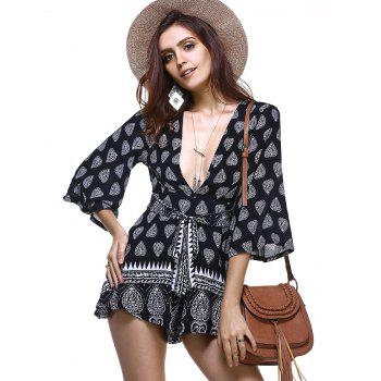 Chic Plunge Neck Bell Sleeve Tribal Print Cut Out Romper For Women