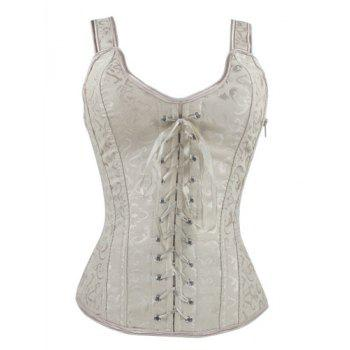 Lace Up V Neck Corset - APRICOT M
