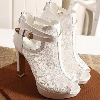 Trendy Platform and Lace Design Women's Peep Toe Shoes - WHITE WHITE