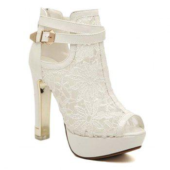 Trendy Platform and Lace Design Women's Peep Toe Shoes - WHITE 40