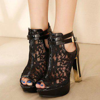 Trendy Platform and Lace Design Women's Peep Toe Shoes - BLACK 37