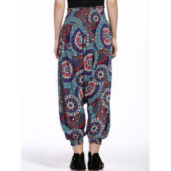 Stylish Relaxed Floral Print Pants For Women - BLACK/WHITE/RED S