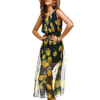 Sweet Lemon Print Sleeveless Rhinestoned Round Neck Women's Dress