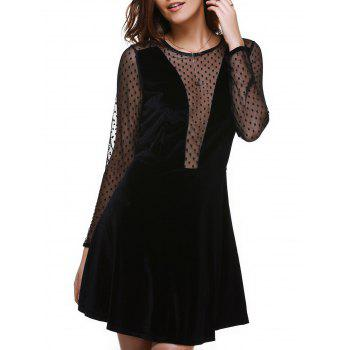 Alluring Spliced See-Through Long Sleeve Women's Dress