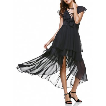 Flounce Collar Lace-Up Layered Irregular Elegant Women's Dress