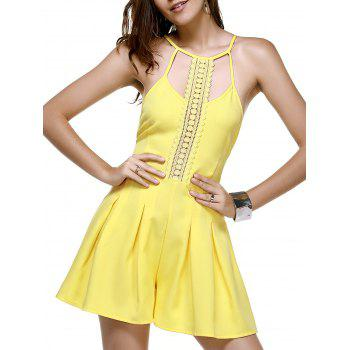 Trendy Lace Spliced Hollow Out Yellow Romper For Women
