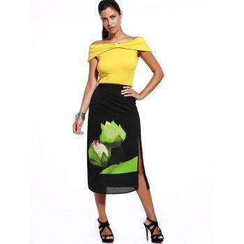 Trendy Off The Sholder T-Shirt + Lotus Leaf Print High Slit Skirt Twinset For Women - YELLOW ONE SIZE(FIT SIZE XS TO M)
