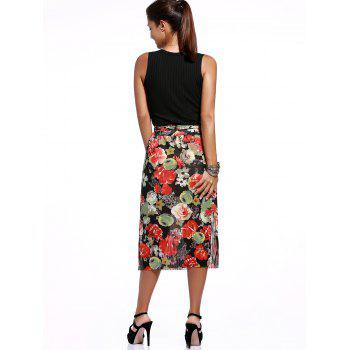 Trendy V Neck Tank Top + Floral Print High Slit Skirt Twinset For Women - BLACK ONE SIZE(FIT SIZE XS TO M)