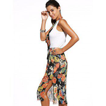 Trendy V Neck Tank Top + Floral Print High Slit Skirt Twinset For Women - WHITE ONE SIZE(FIT SIZE XS TO M)