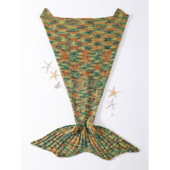 Chic Quality Mixed Color Knitted Mermaid Tail Design Blankets - GREEN GREEN