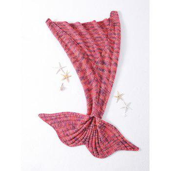 Warmth Rhombus Pattern Crocheted Knitted Mermaid Tail Shape Blanket -  WATERMELON RED