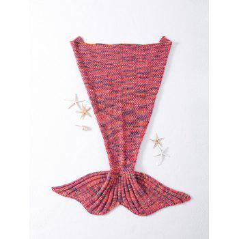 Warmth Rhombus Pattern Crocheted Knitted Mermaid Tail Shape Blanket - WATERMELON RED WATERMELON RED