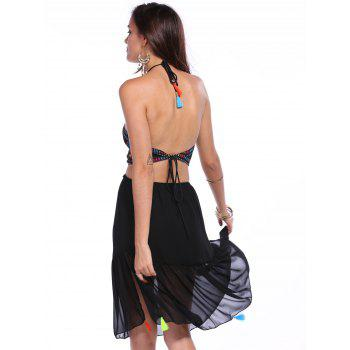 Sexy Halter Sleeveless Asymmetrical Open Back Women's Tassel Embellished Cover-Up - BLACK M