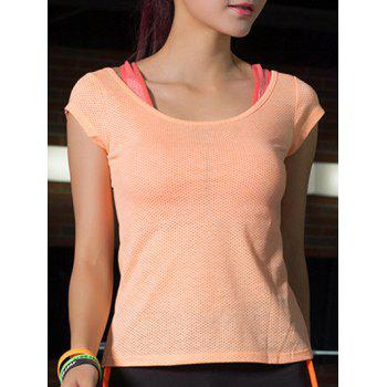 Women's Sportive Round Neck Dot Pattern Pure Color T-Shirt